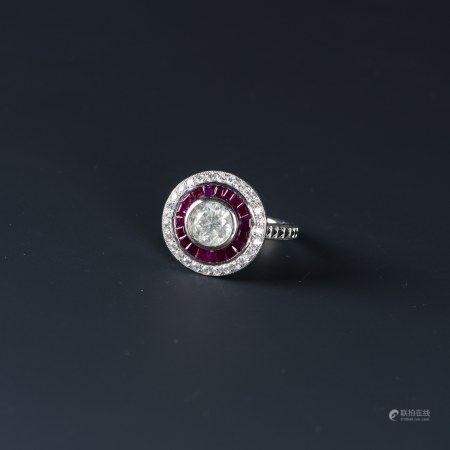 A DIAMOND & RUBY RING, AIGL CERTIFIED