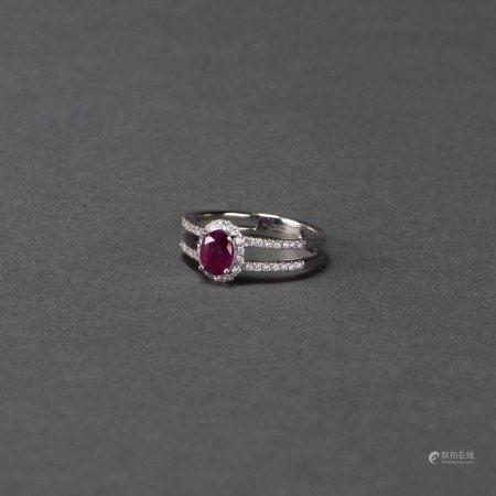 A RUBY & DIAMOND RING, AIGL CERTIFIED