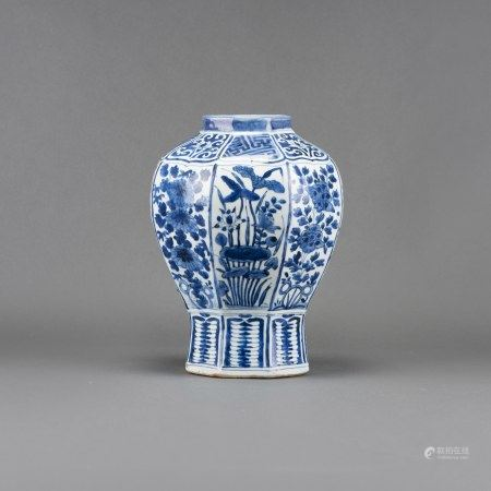 A BLUE AND WHITE 'FLOWER AND BIRD' OCTAGONAL VASE