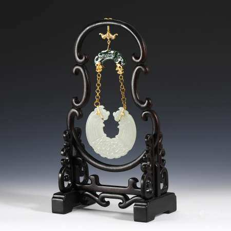 JADE CARVED CHIME HANGING PENDANT
