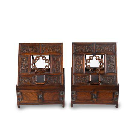 PAIR HUANGHUALI CARVED DRESSING CABINETS