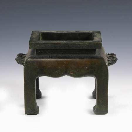 MING XUANDE BRONZE FANG DING CENSER