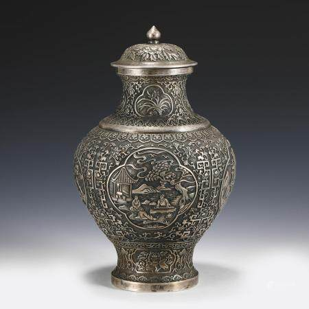 CHINESE FIGURINES FLORAL MOTIF SILVER LIDDED VASE