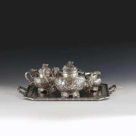 19TH C WANG HING CHINESE EXPORT SILVER TEA SETS