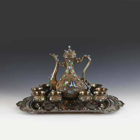 CHINESE CHAMPLEVE SILVER GILT & STONES INLAID ENAMELED