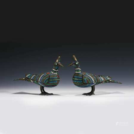 PAIR OF CHAMPLEVE SILVER ENAMEL DOVES