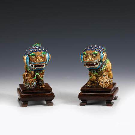 PAIR CHINESE CHAMPLEVE SILVER GILT ENAMEL FU LIONS