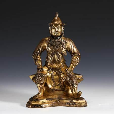 GILT BRONZE BUDDHA FIGURINE STATUE