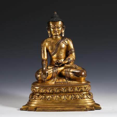 MING GILT BRONZE SAKYAMUNI BUDDHA