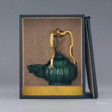 GREEN JADE GILT BRONZE HANDLE TEA POT IN BOX