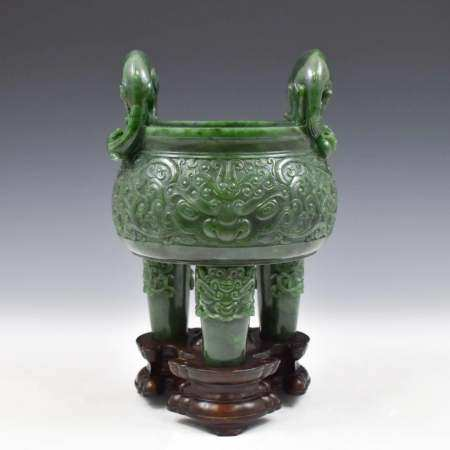 LARGE CHINESE GREEN JADE TRIPOD CENSER ON STAND
