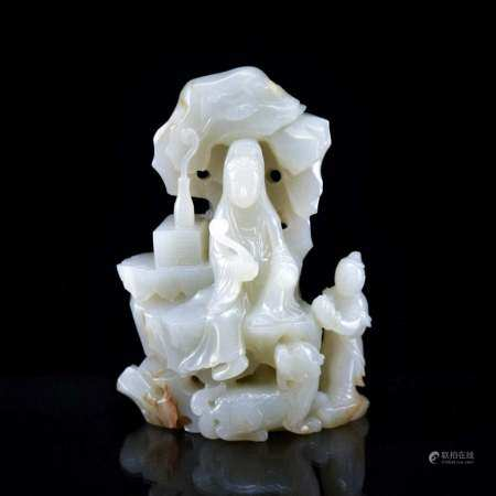VERY FINE CARVED WHITE JADE OF GUANYIN FIGURE