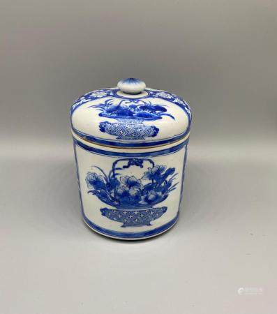 Chinese Kangxi Blue and White Precious objects and Flowers Jar and Cover