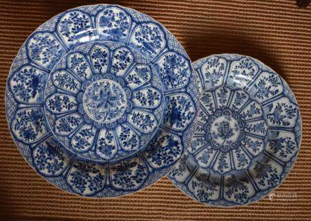 Pair of Kangxi Blue and White decorative floral charger