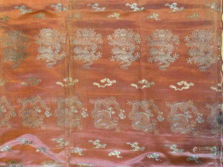 Chinese Silk Woven Five-Claw Dragon Textile with metal thread