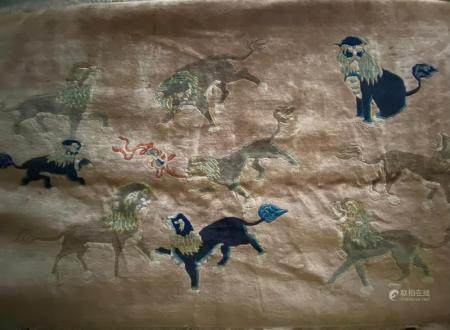 Chinese Wool Rug of Buddhist Lion