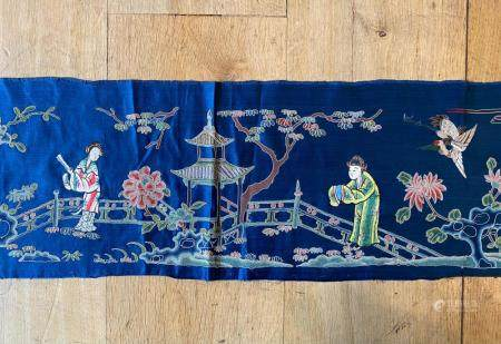 Chinese Blue Silk Panel with Silk Embroidered figures in Blindknot Landscape