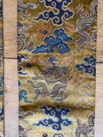 Chinese Imperial Yellow Silk Woven Five-Claw Dragon Temple Hanging