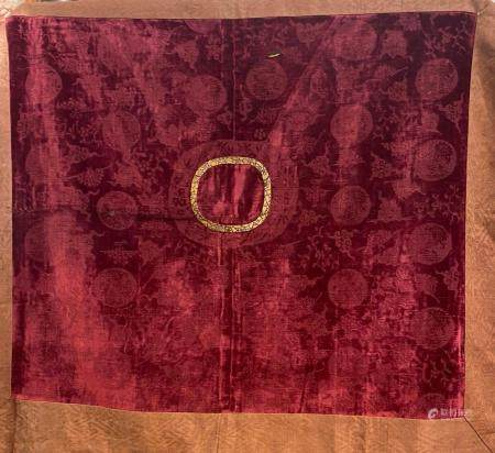 Chinese Square Red Velvet Table Cloth with Dragon Roundels