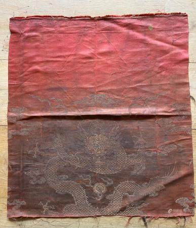 Chinese Red Silk Woven Textile of Dragon