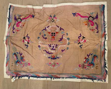 Chinese Felt Textile of Embriodered Dragon and Phoenix