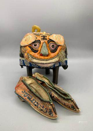 CHINESE Theatrical Silk Foo-Dog/Shishi children hat and shoes