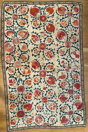 Central Asia Floral Suzani Hanging with decorative green border and chain stitching