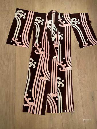 Japanese Brown Kimono with Pink and White Wave Design