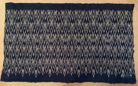 Southeast Asian Cotton Indigo Woven Shawl with Diamond Design