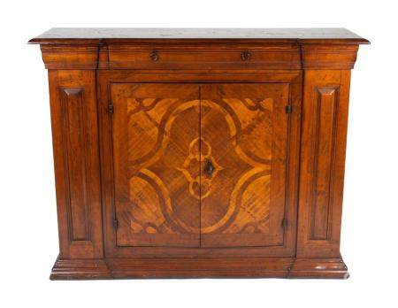 An Italian Baroque Style Inlaid Walnut Cabinet Height 44 x width 54 x depth 16 inches.