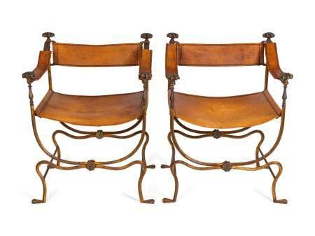 A Pair of Italian Renaissance Style Wrought-Iron Savanarola Chairs Height 36 1/2 x width 26 x depth 20 inches.