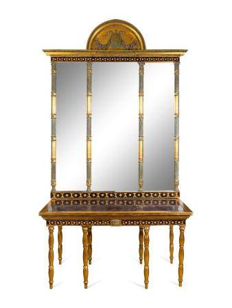 A Swedish Neoclassical Parcel-Gilt, Eglomise and Porphyry Console and Mirror Height overall 112 1/2 x width 57 1/4 x depth 29 inches. Height of console 29 1/2 x length 57 1/4 x depth 29 5/8 inches; height of mirror 79 1/2 x width 62 1/2 inches.