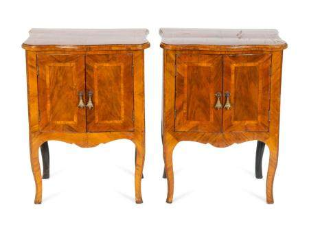 A Pair of Italian Walnut Bedside Cabinets Height 30 x 22 x depth 16 inches.