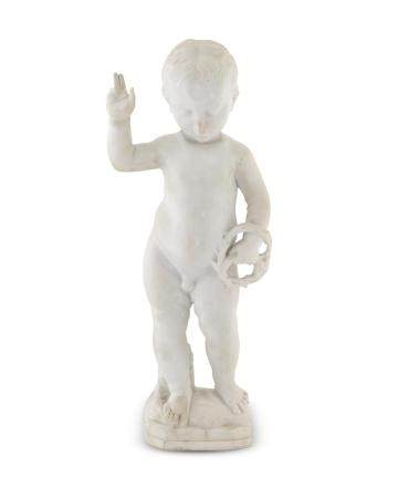 An Italian Marble Figure of the Infant Christ Height 23 1/4 x width 11 1/4 x depth 4 3/4 inches.