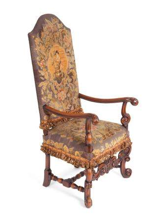 A Louis XIV Style Needlepoint-Upholstered Walnut Armchair Height 51 x width 24 x depth 23 inches.