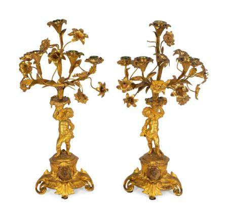 A Pair of Louis XV Style Gilt-Metal Five-Light Candlabra Height 20 1/2 inches.