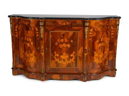 A Louis XV Style Gilt-Metal-Mounted Marquetry Credenza Height 43 1/2 x length 75 x depth 20 inches.