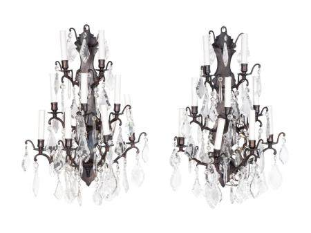 A Pair of Louis XV Style Wrought-Iron and Glass Appliques Height 25 x width 18 x depth 9 1/2 inches.