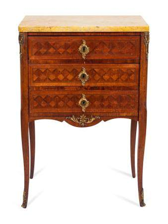 A Louis XV/XVI Transitional Style Parquetry Petit Commode Height 31 x width 21 x depth 13 1/2 inches.