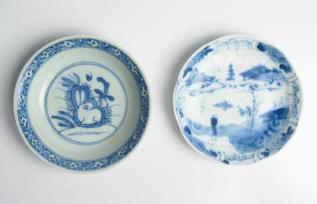 TWO CHINESE BLUE AND WHITE SMALL DISHES MING (1368-1644) AND QING DYNASTY (1644-1912)