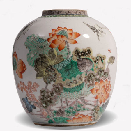 Famille Verte Lotus Pond Jar Kangxi Style