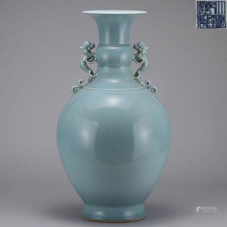 Sky Blue Glazed Vase