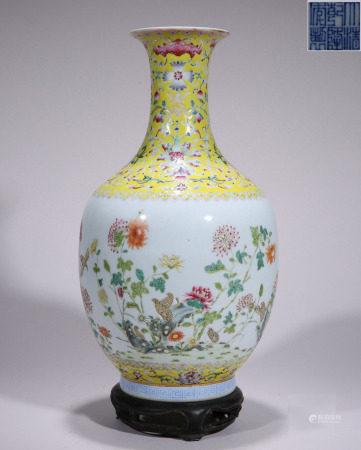 Famille Rose Floral Vase