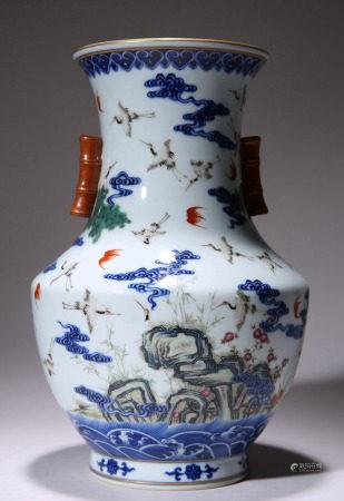 Famille Rose Arrow Vase