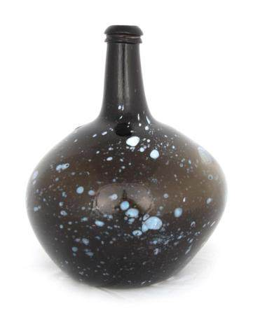 A 19TH CENTURY GLOBULAR NAILSEA TYPE ONION BOTTLE with white enamel spots decoration 23cm high.