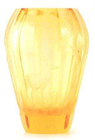 A LARGE AMBER GLASS MOSER ENGRAVED VASE of faceted form with fine deeply engraved decoration