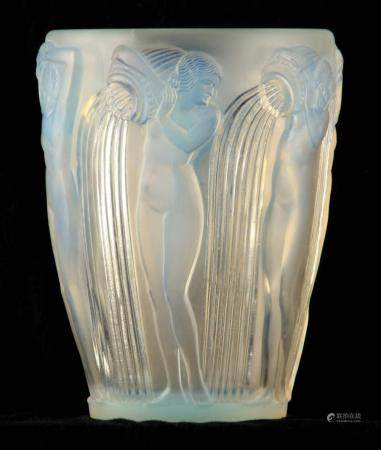 R LALIQUE, AN OPALESCENT ÔDANAIDESÕ GLASS VASE of tapering form having a press-moulded design of