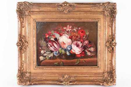 19th / 20th century Continental school, a still life study of flowers, oil on canvas, indistinctly