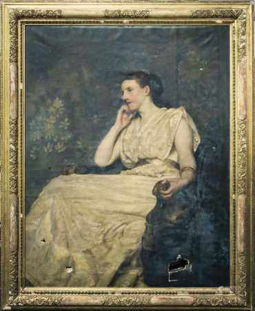 Early 20th century school, a large full-length portrait of a seated aristocratic lady, unsigned