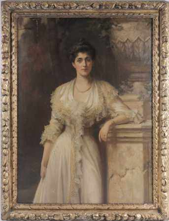 Beatrice Bright (1861-1940), a large three-quarter length portrait of an aristocratic Edwardian